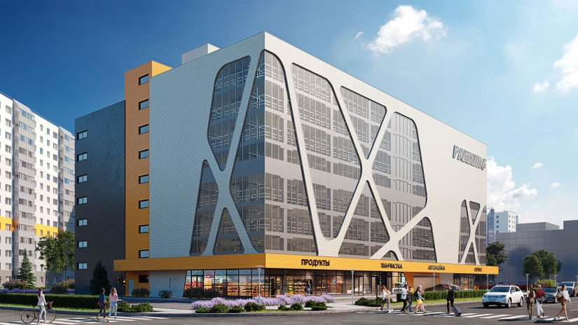 8-этажный торгово-бытовой комплекс с наземным паркингом в ЖК «Новое Горелово»